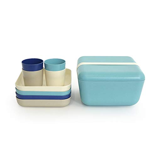 EKOBO Fresco 10-Teiliges Royalblue Picknick-Set, Bambus, lagoon, stone royal blue, white, 24 x 24 x 14 cm