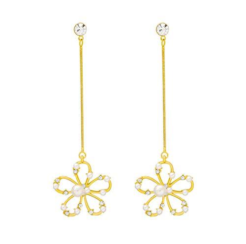 NA Studs Earrings for Girls Women Material Alloy S925 Silver Needle Flower Shape Pendant Artificial Pearl Dangle Earrings Accessories for Women
