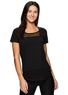 RBX Active Women's Short Sleeve Open Back Yoga Shirt