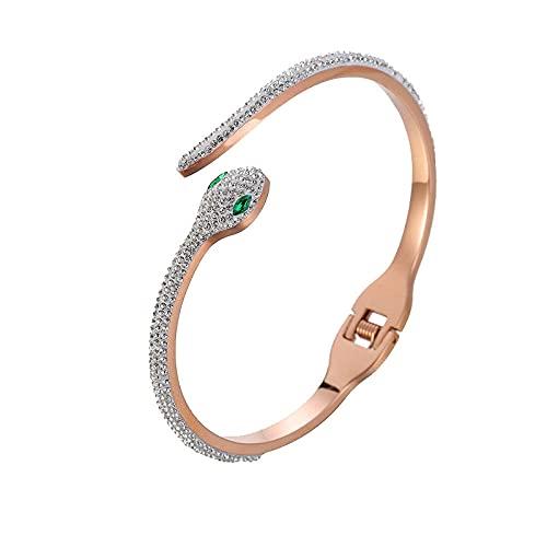 Pulsera de mujer, Pulsera de acero de titanio con forma de serpiente de moda, Accesorios de diamantes de acero inoxidable
