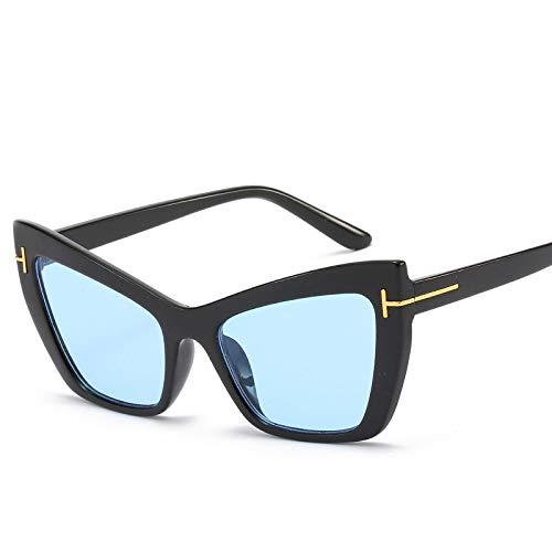 YOULIER Señora Gafas de sol de gran tamaño para las mujeres Gafas de ojo de gato Moda T Eyewear Trend Gafas de sol Uv400 BlackBlue