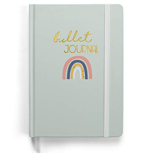 Set iniziale di Bullet Journal Premium - (arcobaleno) - quaderno A5 | 192 pagine di carta spessa punteggiata 120g/m² | con griglia punteggiata, elastico, portapenne, tasca triangolare, istruzioni.