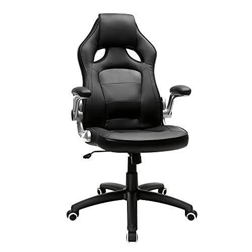 SONGMICS Chaise de bureau de forme sportive, Fauteuil pivotant, avec accoudoirs inclinables, Dossier haut, Hauteur réglable,...