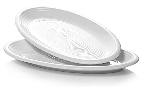 DOWAN Oval Serving Platters - 12 Inches Serving Plates, Oval Dinner Plates Porcelain White, Serving Dishes for Party, Meat, Appetizers, Dessert, Dishwasher & Oven Safe, Set of 2, Creamy White