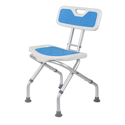 QQXX Opvouwbare douche badkruk aluminiumlegering douche stoel hindernis gebogen zitting klapdouchestoel antislip matten instelbaar op 3 hoogtes voor oudere zwangere zwangere vrouwen waar