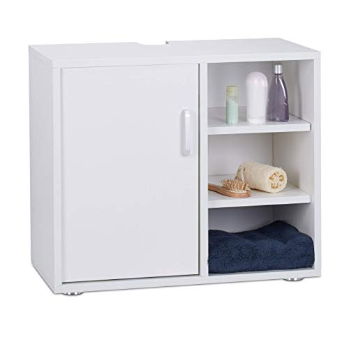 Relaxdays wastafelmeubel met één deur, badkamerkast, uitsparing, 3 planken, WC onderstelkast 51 x 60 x 32 cm, wit, MDF, standaard