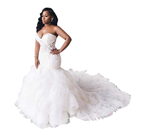 Wedding Dress for Bride Mermaid Sweetheart Cap Sleeve Cathedral Train Plus Size White (Apparel)