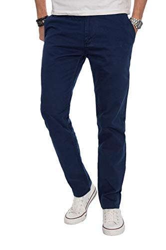 Alessandro Salvarini Herren Designer Chino Stoff Hose Chinohose Regular Fit AS016, 38W / 30L, Dunkelblau