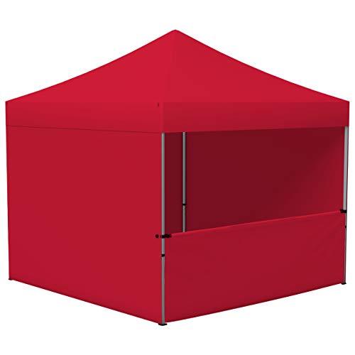 Vispronet Profi Faltpavillon/Faltzelt Basic 3x3 m, Rot, 4 Wände/Davon 1 Halbhohe Zeltwand, Stahl-Scherengitter, faltbar (weitere Farben & Größen)