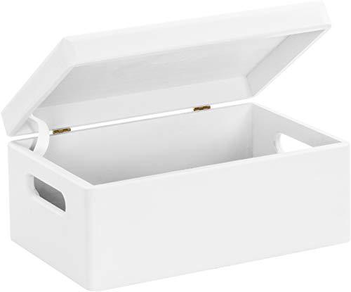 Fogliame Lust–Scatola di legno per conservare in taglia M–Pino laccato bianco ca. 30x 20x 14cm–Legno Massello certificata FSC