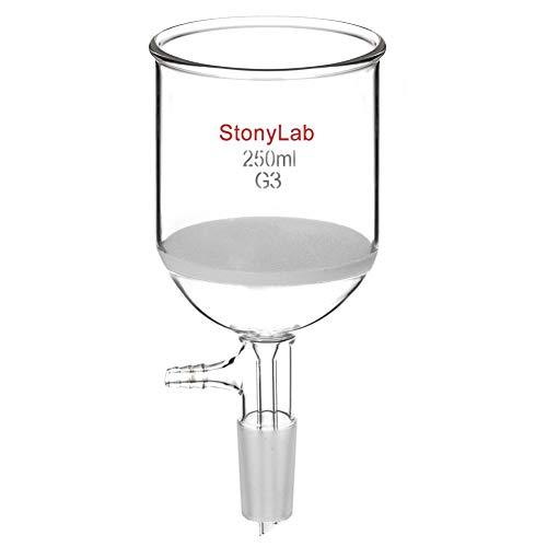 StonyLab Glas Buchner Trichter Filter, Borosilicatglas Vakuum Buchner Filtertrichter mit Feiner Fritte(G3), 76mm Scheibendurchmesser, 80mm Tiefe, mit 24/40 Standard Taper Innengelenk - 250ml