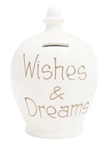 Terramundi - Salvadanaio in ceramica 'Wishes & Dreams' con scritta in oro