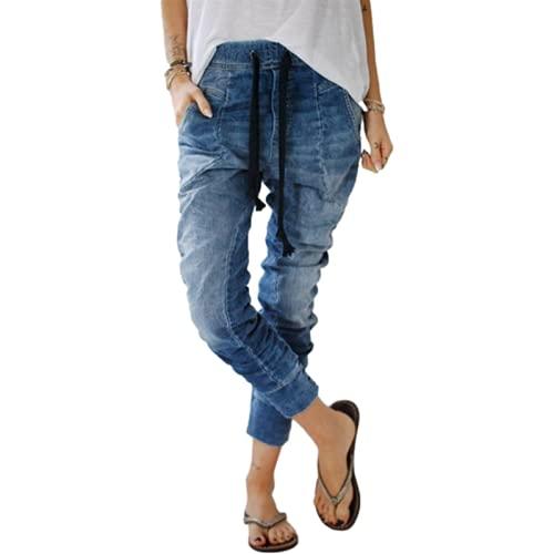 Pantalones vaqueros de harén de cintura elástica con cordón simple y cómodo tendencia, todos los partidos lavados, básicos de mezclilla, azul claro, S