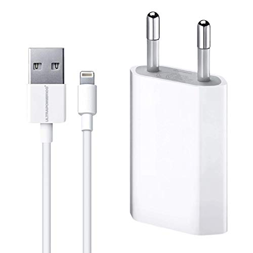 ultrapower100® Cargador Compatible iPhone 1A 5 W 1400 + Cable 100% 1 Metro Blanco Compatible iPhone 5 5 C 5S 6 SE 6S 7 8 X XR XS XS MAX