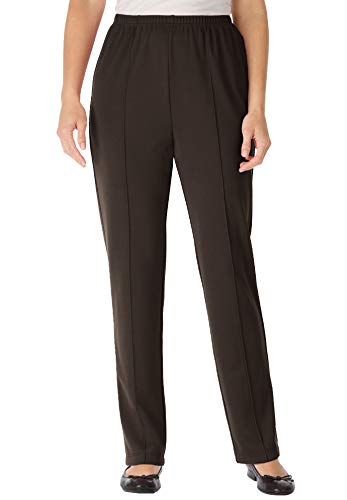 Woman Within Women's Plus Size Petite Elastic-Waist Soft Knit Pant - 24 WP, Chocolate Brown