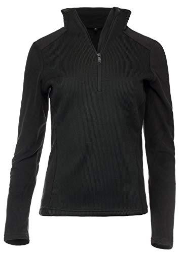 Medico Damen Skishirt Funktionsshirt Fleeceshirt Strickdesign Langarm Schwarz 40
