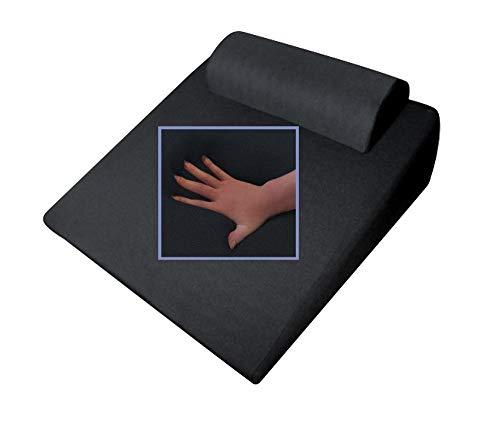 Reflux - Almohada ortopédica, de Espuma de Gel, con Apoyo Cervical, 65x 60x 32cm, con Forma de cuña, Suave y Blanda, Ideal para Leer y Ver la televisión, Color Negro