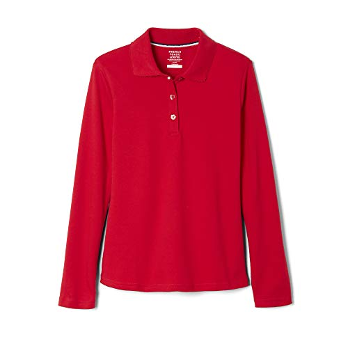 French Toast Little Girls Long Sleeve Picot Collar Interlock Polo, Red,  Small/6/6x