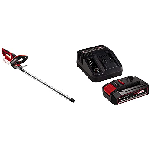 Einhell GE-CH 1846 Li-Solo Power X-Change Cordless Hedge Trimmer - Supplied without Battery and Charger & 4512097 2.5Ah Power X-Change Starter Kit - Battery &