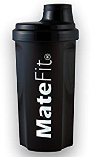 Shaker Bottle Black - MateFit, with mesh lid to Mix Lumps and to Stop ice Cubes When Drinking, 700 ml / 24 Ounce with a Tr...