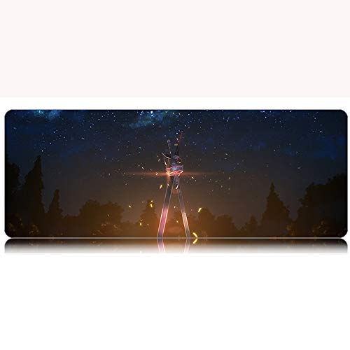 Nsddm SAO Series/Two Weapon Patterns/Anime Gaming Mouse Pad/Waterproof Anti-Skid Extended Desktop Mat/Rubber Edge Banding Large Computer Pad/Suitable for E-Sports, Office, Home Mats