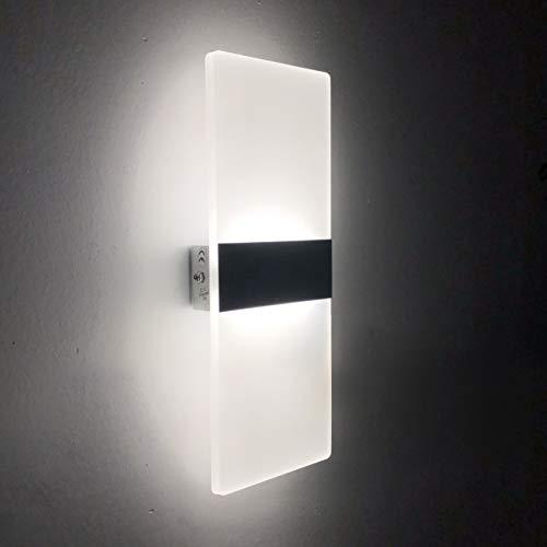 Lámpara de Pared LED 12W, Interior Apliques de Pared Moderna Acrílico, Iluminación Interior para Decoració para Dormitorio Salón y habitación, Blanco Frío