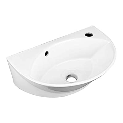"""Juniper 17 1/8"""" Wall Mounted Bathroom Sink White Heavy Duty Porcelain With Overflow Renovators Supply Manufacturing"""