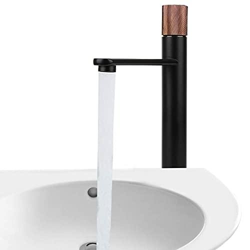 G1/2 Grifo del lavabo del baño del hogar Grifo mezclador de agua fría y caliente Mango de cobre con rosca de oro rosa Grifo de agua fría caliente alta Grifo de lavabo debajo del mostrador (Tipo alto d