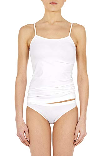 Camiseta de tirantes estrecha de suave microfibra elástica sin costuras, 2 unidades blanco L/XL