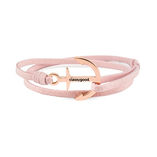 classygood. Anker Armband Classy Bracelet roségold & Silber, Leder-Band rosa für Damen/Herren (roségold)