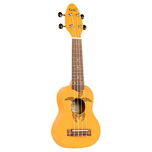 Ortega KEIKI Ukulele 4 String - Sopranino Tortiose/Turtle Lasering/Clavijero KEIKI/A D F# B/Naranja (K1-ORG)
