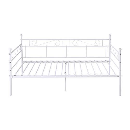 IPOTIUS Sofa Bed Day Bed Metal Bed Frame Guest Bed for Living Room Bedroom Children Room, Fits for 3ft 90 * 190cm Mattress,Frosted Beige