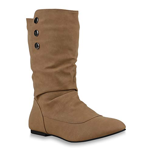 Stiefelparadies stiefelparadies Damen Schlupfstiefel Boots Schuhe 123784 Khaki Avion 36 Flandell