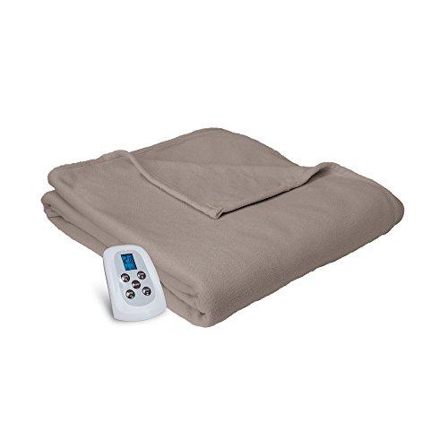 Serta | Brushed Fleece Heated Electric Blanket with Programmable Digital Controller, Twin, Beige