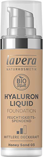 lavera HYALURON LIQUID FOUNDATION -Honey Sand 03- mit Bio-Mandelöl ∙ Make-Up Grundierung ∙ intensive Feuchtigkeit ✔ Naturkosmetik ✔ vegan ✔ Bio Inhaltsstoffe ✔ Natürlich & Innovativ, 30 ml