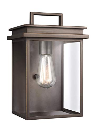 "Feiss OL13601ANBZ Glenview Outdoor Patio Lighting Wall Lantern, Bronze, 1-Light (8""W x 12""H) 60watts"