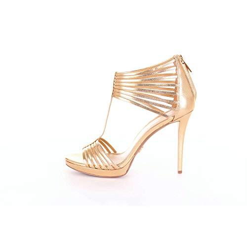 Michael Kors Damen Pumps Sandalen Schuhe Leann Sandal Metallic Leather Pale Gold