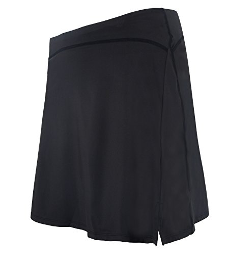 slimour Women Modest Running Skirt Travel Skirts with Pocket Swim Skirt High Waist with Shorts Black L