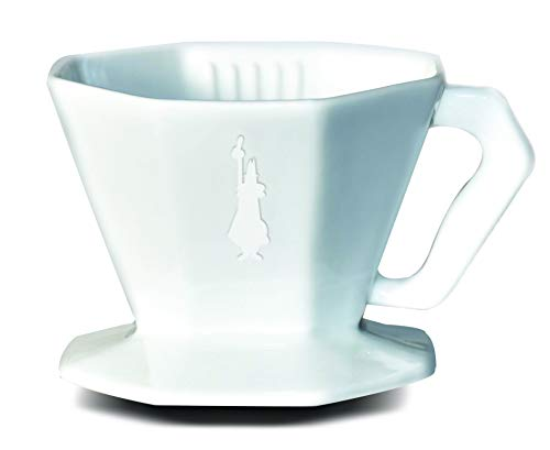 Bialetti 0006367 Kaffeefilter Carlo für 4 Tassen aus Keramik, weiß, 20 cm