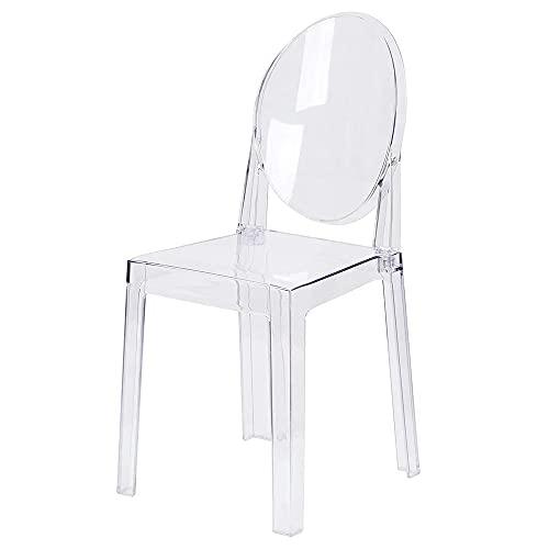 LAFII.T Ghost Chair Transparent Esszimmerstuhl Seitenstühle Kunststoff Einzelstuhl Küchenstuhl zerlegt und Nicht stapelbar, 1-teilig