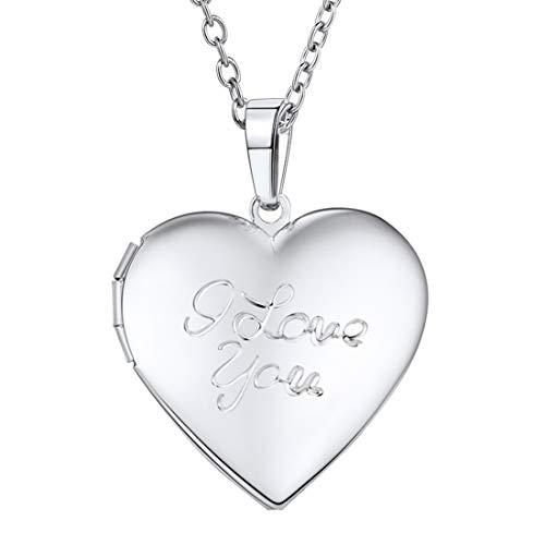 U7 Herz Anhänger Halskette für Damen Mädchen platiniert I Love You Gravur Medaillon zum Öffnen Photo Bilder Amulett Herzanhänger Geschenk für Valentinstag Muttertag