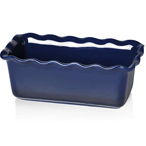 HAOTOP Ceramics Loaf Pan for Baking, Non-Stick Porcelain Bread bowl, Baking bowl, Perfect for Meat and Bread,9-inch (Navy)