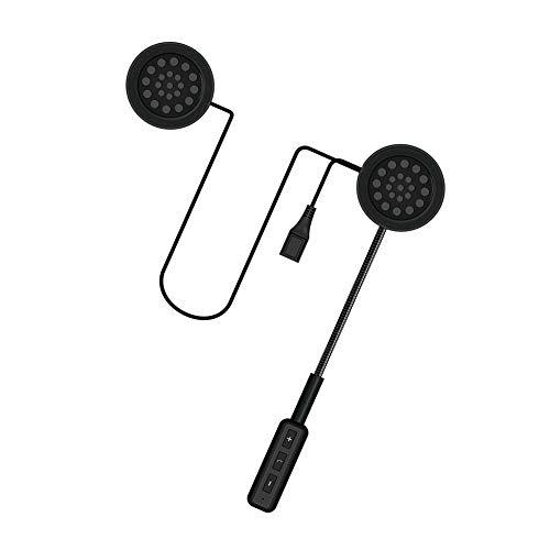 EDR MH01 Auriculares de Casco para Motocicleta Inalambricos Auriculares Intercomunicador Estabilidad de la Señal Bluetooth 5.0 Estéreo Adaptado a Varios Cascos Carga USB Manos Libres Llamadas, Negro