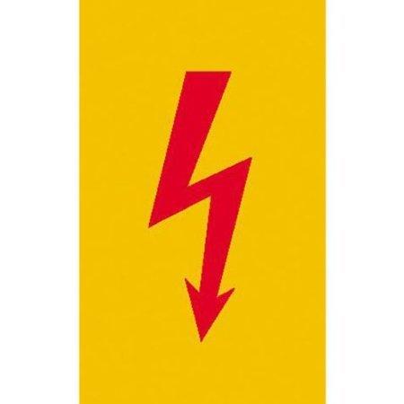 Spannungszeichen (Roter Blitz) Warnschild, selbstkl. Folie, Größe 7,40x14,80cm
