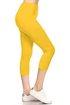 LYCPR128-YELLOW Yoga Capri Solid Leggings One Size