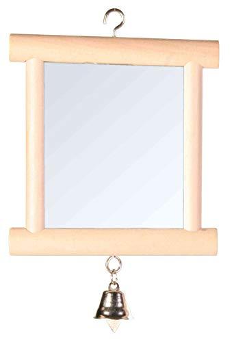 Trixie 5860 Spiegel mit Holzrahmen und Glocke, 9 × 10 cm