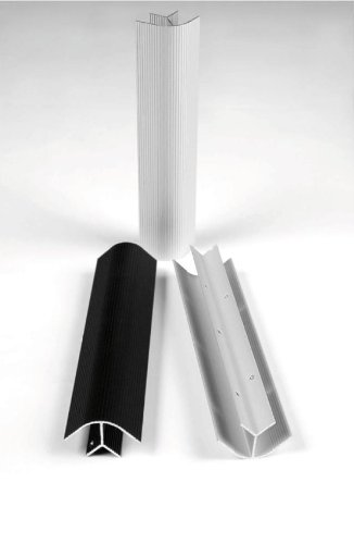 Eckprofil Winkel Aluminium silber eloxiert, Länge 100cm, für 19mm Platten/Bretter - Hält ohne Verschraubung durch interne Zahnung
