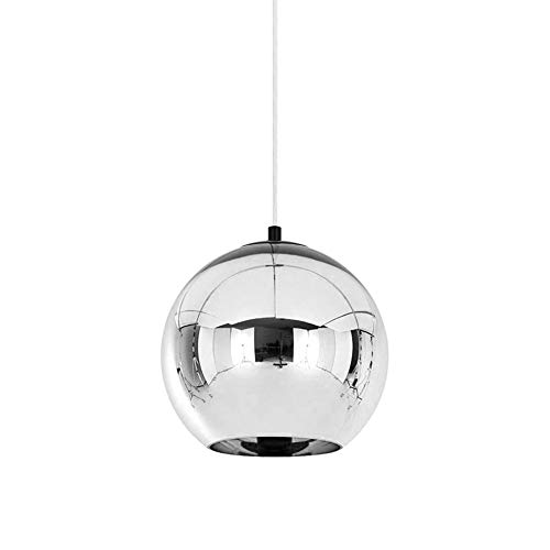 TopDeng Kugel Mini Pendelleuchte Glas klar, E27 Silber Hängeleuchte Für Küche Restaurant Dekoration Pendellampe-30CM
