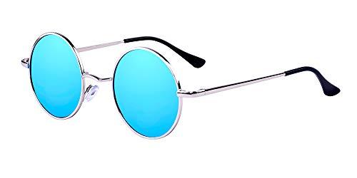 ALWAYSUV Retro Vintage Sonnenbrille Lennon Runde Sonnenbrille HD Nachtsicht Polarisierte Autofahren Brille mit UV Schutz für Alle Außenaktivität