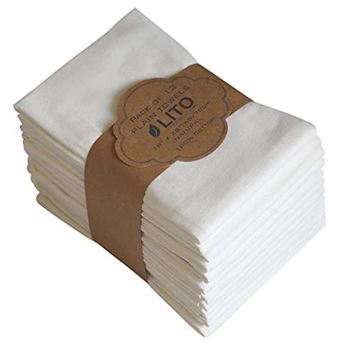 Linen and Towel Dish Towels   6-Pack 130 Thread Count Ring Spun Cotton Vintage Plain   Large 18x28   Kitchen Dish Towels Natural   Kitchen Towel, Hand Towels, Tea Towels, Dish Towel, Dish Cloths